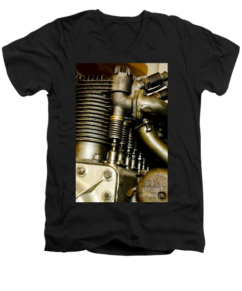 Men's V-Neck T-Shirt featuring the photograph Heath-henderson Motorcycle Engine by Wilma  Birdwell