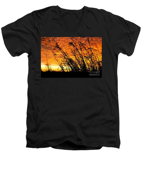Sunset Heaven And Hell In Beaumont Texas Men's V-Neck T-Shirt by Michael Hoard