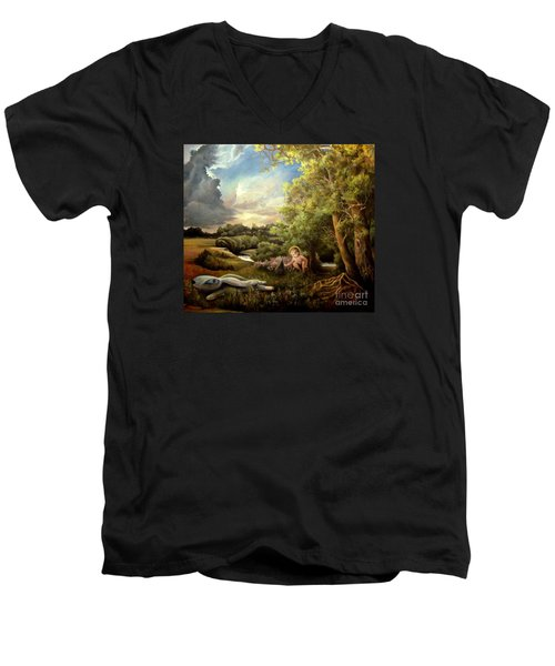 Men's V-Neck T-Shirt featuring the painting Heaven by Mikhail Savchenko