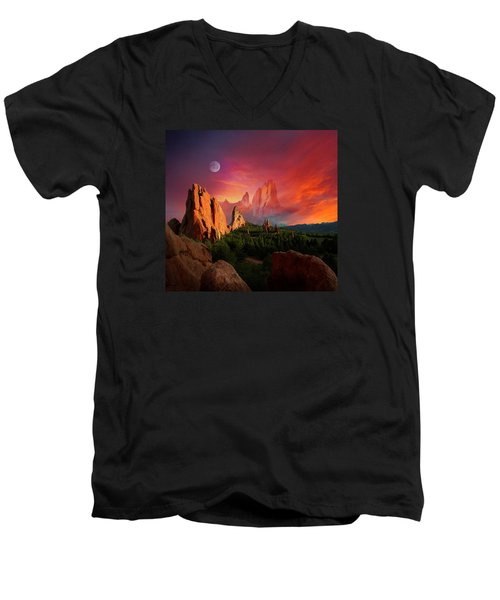 Heavenly Garden Men's V-Neck T-Shirt by John Hoffman