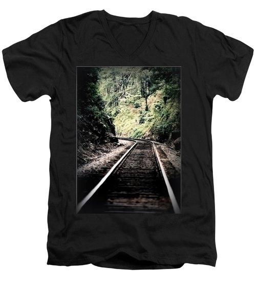 Hegia Burrow Railroad Tracks  Men's V-Neck T-Shirt by Lesa Fine
