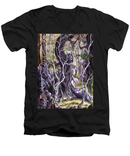 Men's V-Neck T-Shirt featuring the painting Heist Of The Wizard's Staff 2 by Curtiss Shaffer