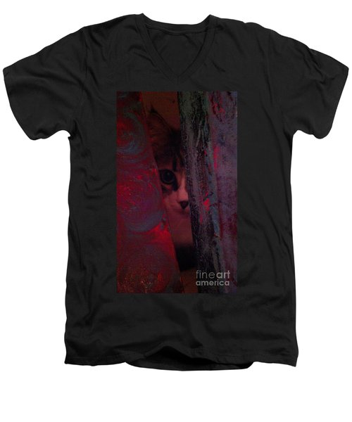 Men's V-Neck T-Shirt featuring the photograph Helping In The Art Studio by Jacqueline McReynolds