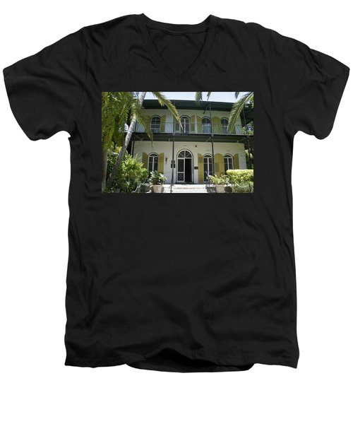 Hemingway's Hideaway Men's V-Neck T-Shirt by Laurie Perry