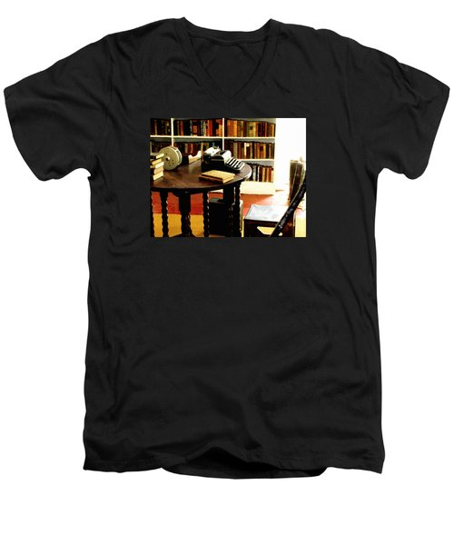 Hemingway's Studio Ernest Hemingway Key West Men's V-Neck T-Shirt by Iconic Images Art Gallery David Pucciarelli
