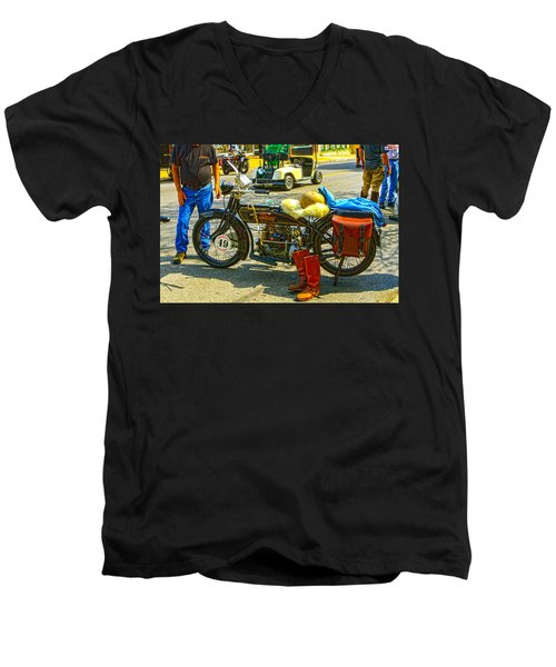 Henderson At Cannonball Motorcycle Men's V-Neck T-Shirt