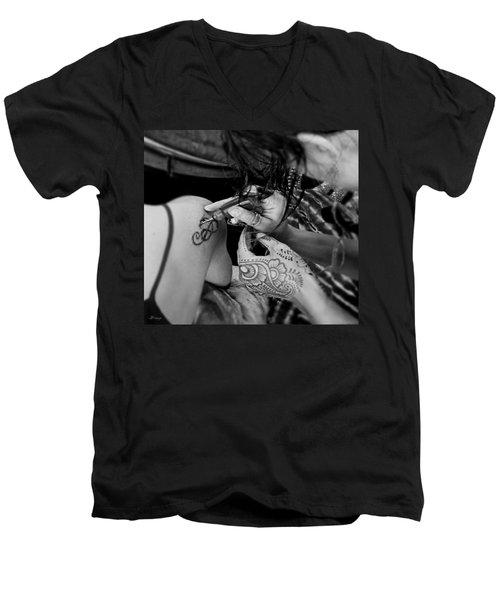 Men's V-Neck T-Shirt featuring the photograph Henna Artist At Work by Jennie Breeze