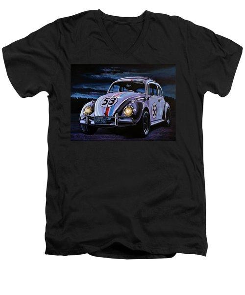Herbie The Love Bug Painting Men's V-Neck T-Shirt