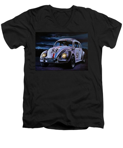 Herbie The Love Bug Painting Men's V-Neck T-Shirt