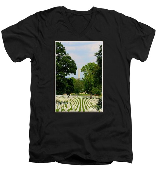 Men's V-Neck T-Shirt featuring the photograph Heroes And A Monument by Patti Whitten