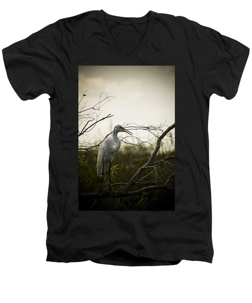 Heron At Dusk Men's V-Neck T-Shirt