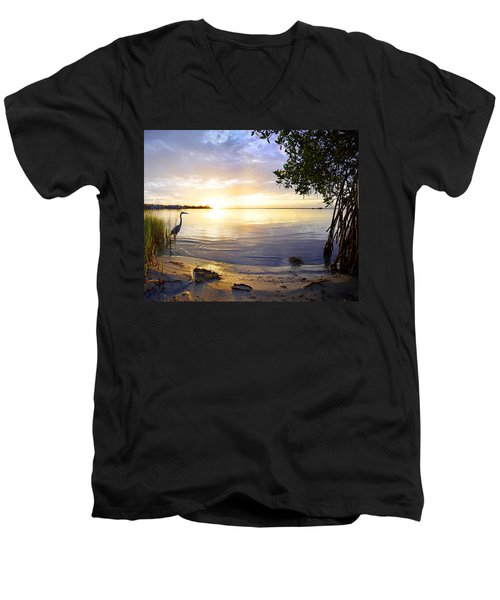 Heron Sunrise Men's V-Neck T-Shirt
