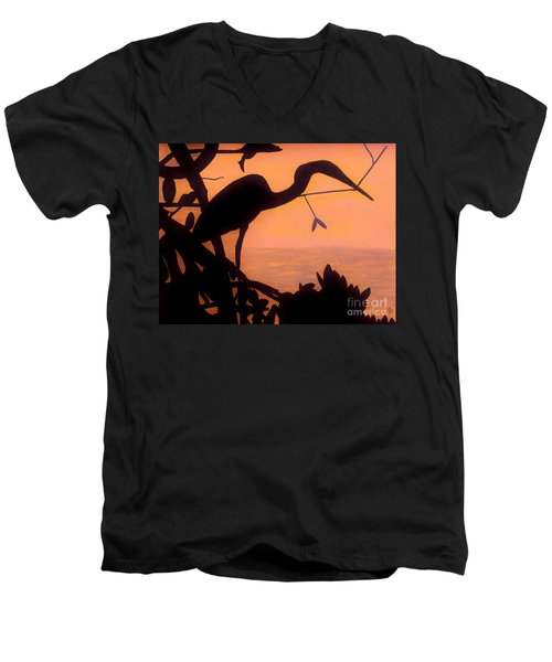 Men's V-Neck T-Shirt featuring the drawing Heron Sunset by D Hackett