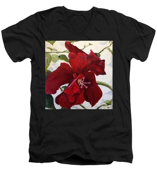 Double Hibiscus Men's V-Neck T-Shirt