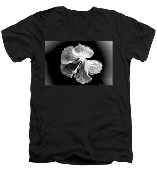 Hibiscus In Black And White Men's V-Neck T-Shirt