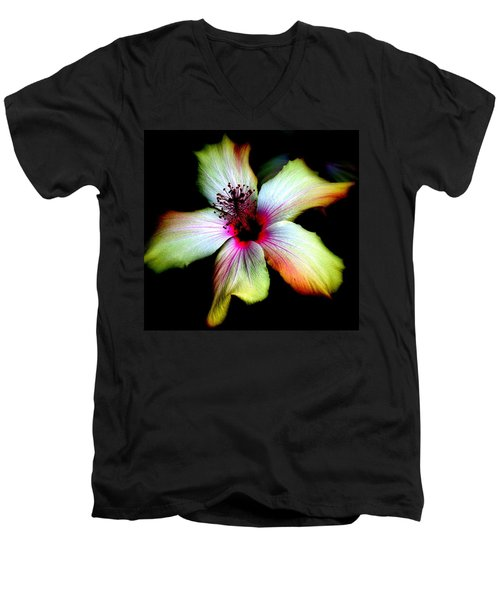 Men's V-Neck T-Shirt featuring the photograph Hibiscus by Jodie Marie Anne Richardson Traugott          aka jm-ART