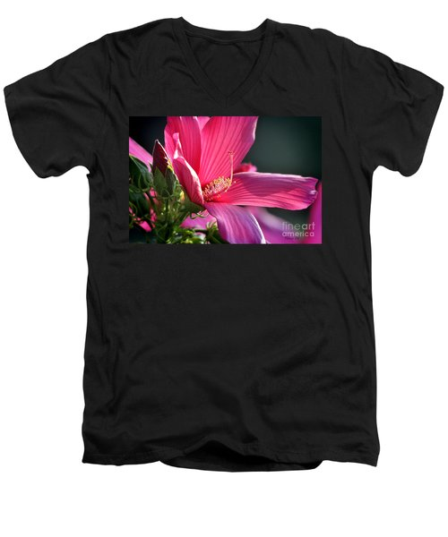 Men's V-Neck T-Shirt featuring the photograph Hibiscus Morning Bright by Nava Thompson
