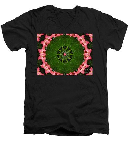 Men's V-Neck T-Shirt featuring the digital art Hibiscus Reflection Design by Oksana Semenchenko