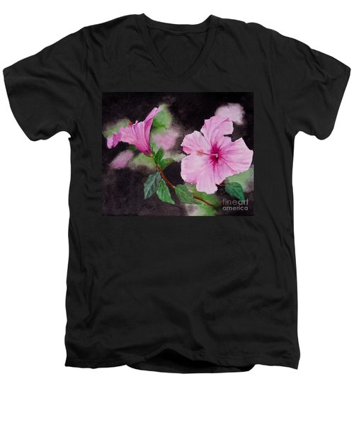 Men's V-Neck T-Shirt featuring the painting Hibiscus - So Pretty In Pink by Sher Nasser