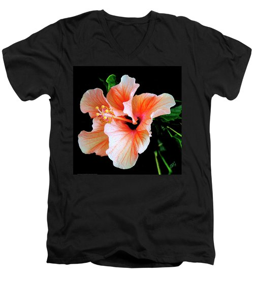 Hibiscus Spectacular Men's V-Neck T-Shirt by Ben and Raisa Gertsberg