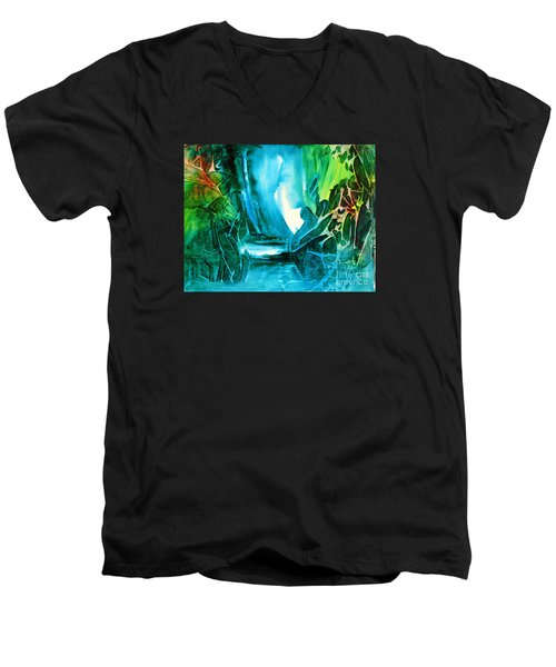 Men's V-Neck T-Shirt featuring the painting Hidden In The Stream by Allison Ashton