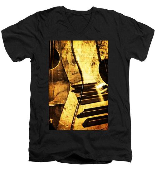 High On Music Men's V-Neck T-Shirt by Randi Grace Nilsberg