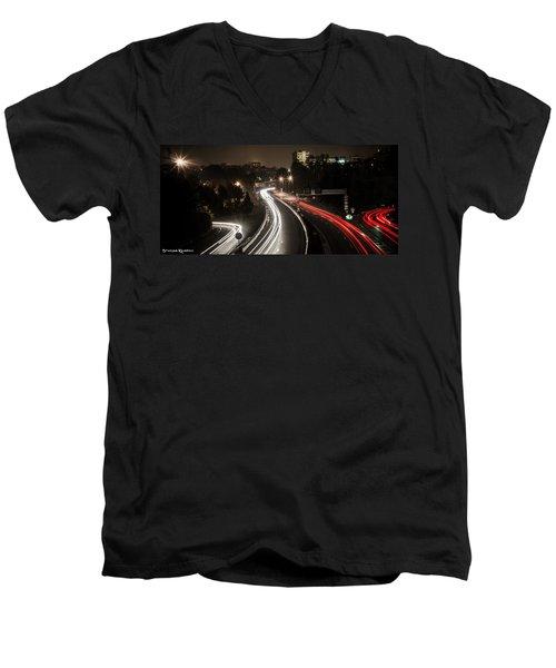 Men's V-Neck T-Shirt featuring the photograph Highway's Lights by Stwayne Keubrick