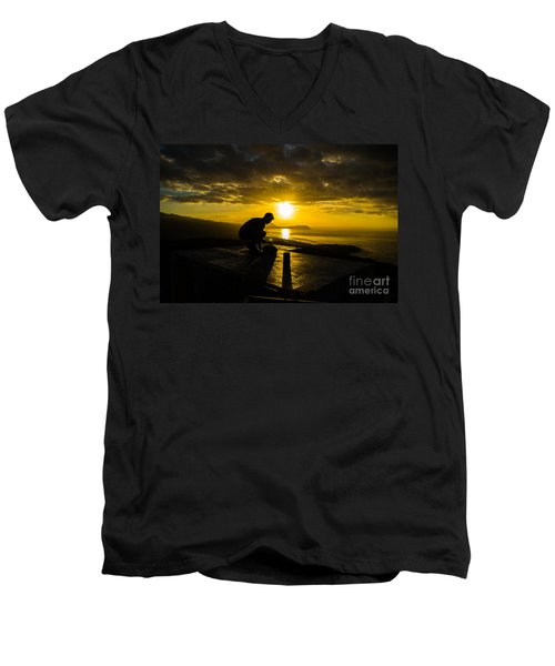 Men's V-Neck T-Shirt featuring the photograph Hiker @ Diamondhead by Angela DeFrias