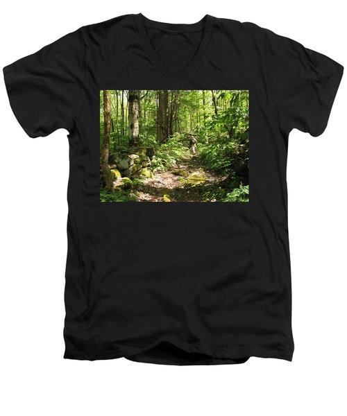 Hiking Off Trail Men's V-Neck T-Shirt by Melinda Fawver