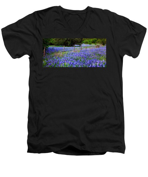 Hill Country Heaven - Texas Bluebonnets Wildflowers Landscape Fence Flowers Men's V-Neck T-Shirt by Jon Holiday