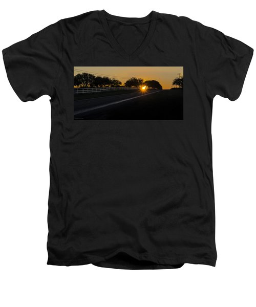 Hill Country Sunrise 2 Men's V-Neck T-Shirt by Debbie Karnes