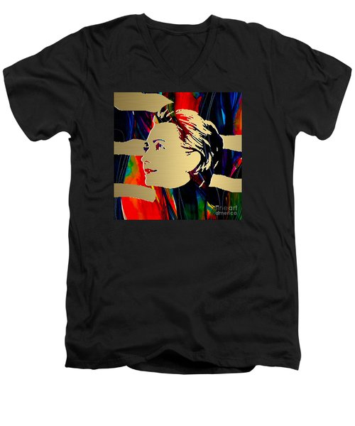 Men's V-Neck T-Shirt featuring the mixed media Hillary Clinton Gold Series by Marvin Blaine