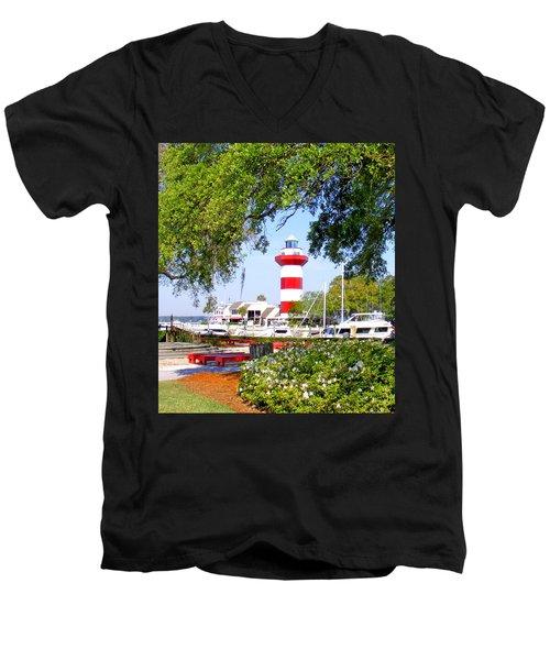 Hilton Head Lighthouse And Marina Men's V-Neck T-Shirt