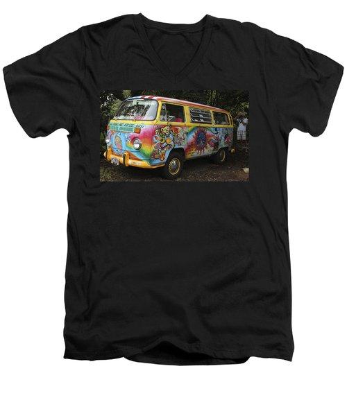 Vintage 1960's Vw Hippie Bus Men's V-Neck T-Shirt by Venetia Featherstone-Witty