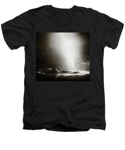Hippo Blowing  Air Men's V-Neck T-Shirt