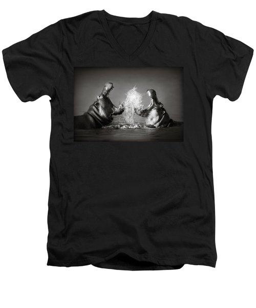 Hippo's Fighting Men's V-Neck T-Shirt by Johan Swanepoel