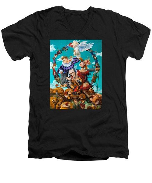 His Majesty Edgar Allan Poe Men's V-Neck T-Shirt by Igor Postash
