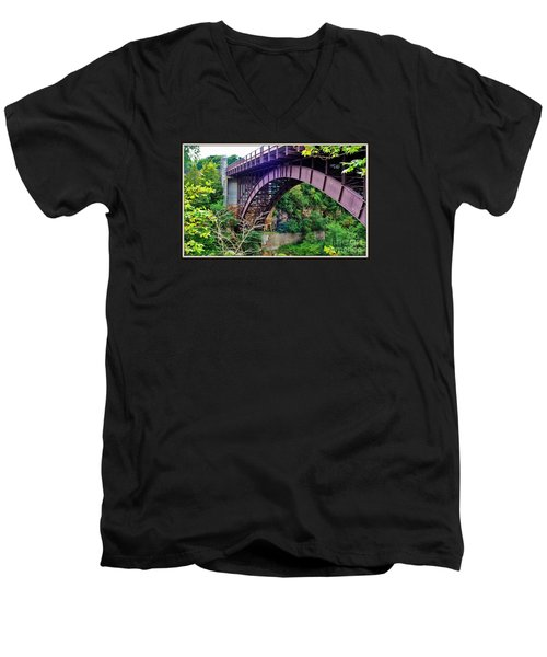 Men's V-Neck T-Shirt featuring the photograph Historic Ausable Chasm Bridge by Patti Whitten