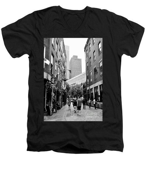 Historic Union Street Boston Ma Men's V-Neck T-Shirt
