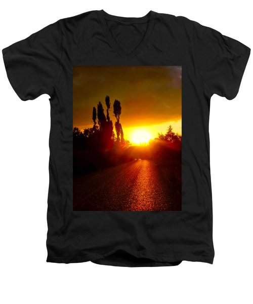 Men's V-Neck T-Shirt featuring the photograph Hit The Road Jack by Zafer Gurel