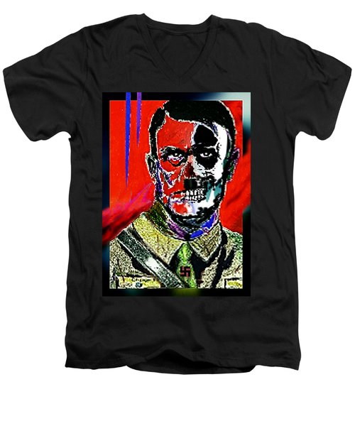 Hitler  - The  Face  Of  Evil Men's V-Neck T-Shirt by Hartmut Jager