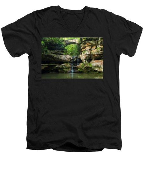 Hocking Hills Waterfall 1 Men's V-Neck T-Shirt