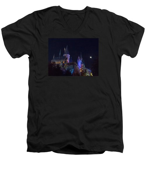 Hogwarts Castle At Night Men's V-Neck T-Shirt