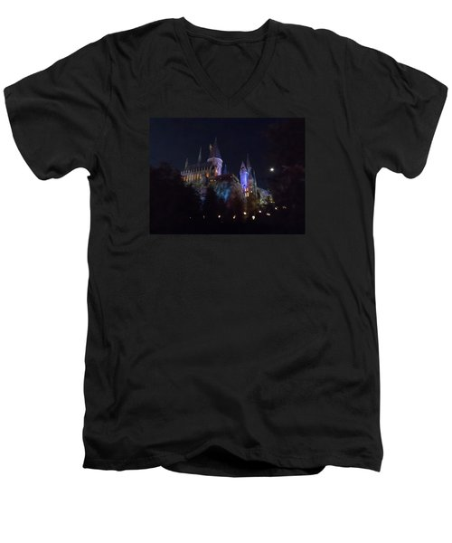 Hogwarts Castle In Lights Men's V-Neck T-Shirt