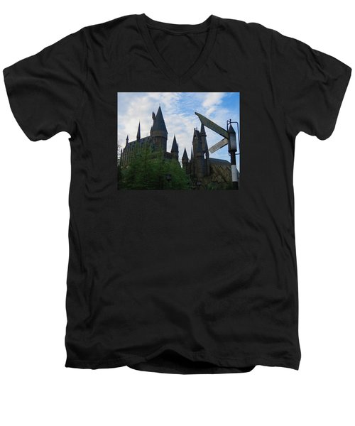 Hogwarts Castle With Signs Men's V-Neck T-Shirt