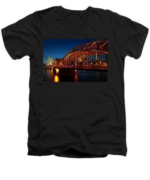Hohenzollern Bridge Men's V-Neck T-Shirt by Mihai Andritoiu