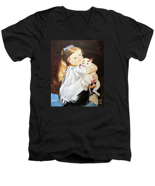 Men's V-Neck T-Shirt featuring the painting Holding On by Judy Kay