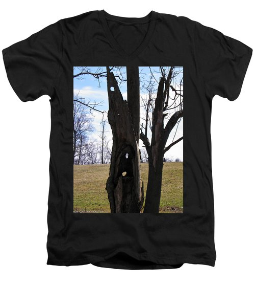 Men's V-Neck T-Shirt featuring the photograph Holey Tree Trunk by Nick Kirby