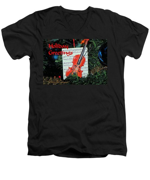 Men's V-Neck T-Shirt featuring the photograph Holiday Greetings With Violin by Rosalie Scanlon