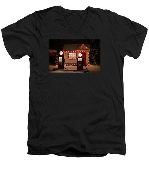 Holiday Service Station Men's V-Neck T-Shirt by Susan  McMenamin